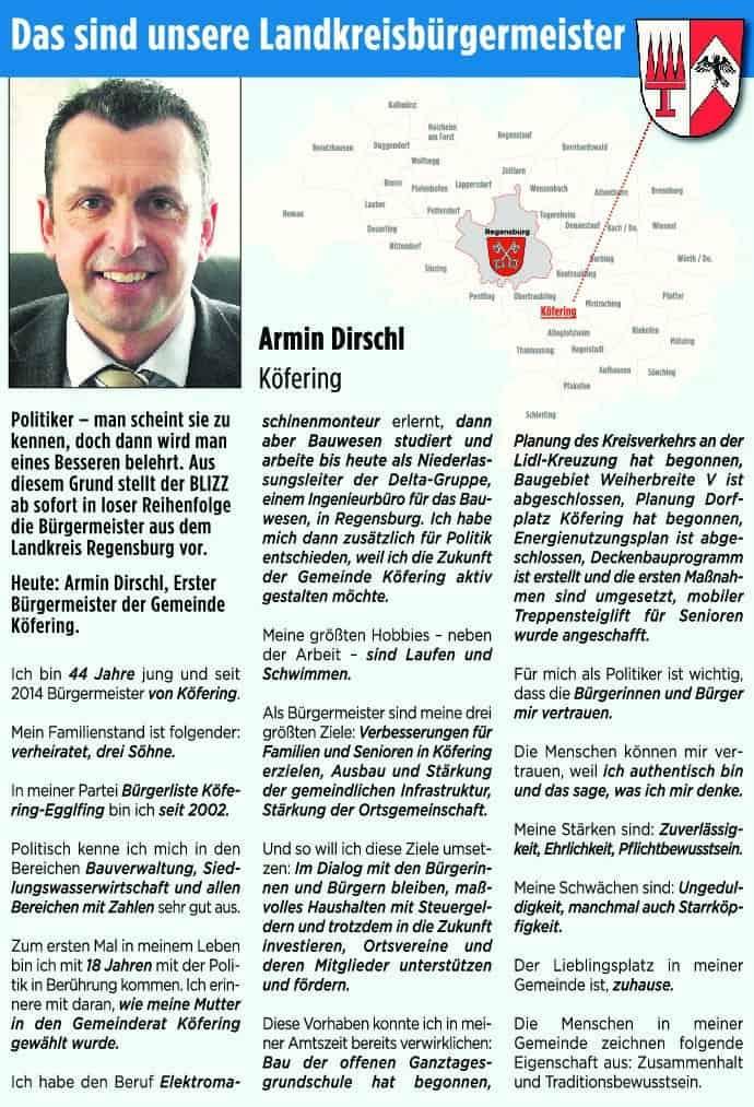 Armin Dirschl aus Köfering stellt sich vor