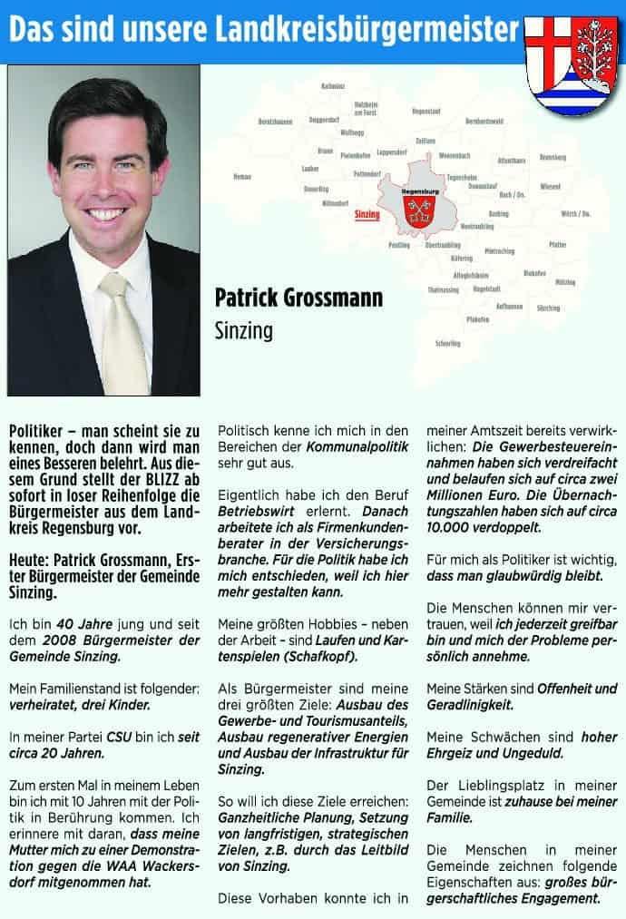 Heute: Patrick Grossmann, Bürgermeister in Sinzing