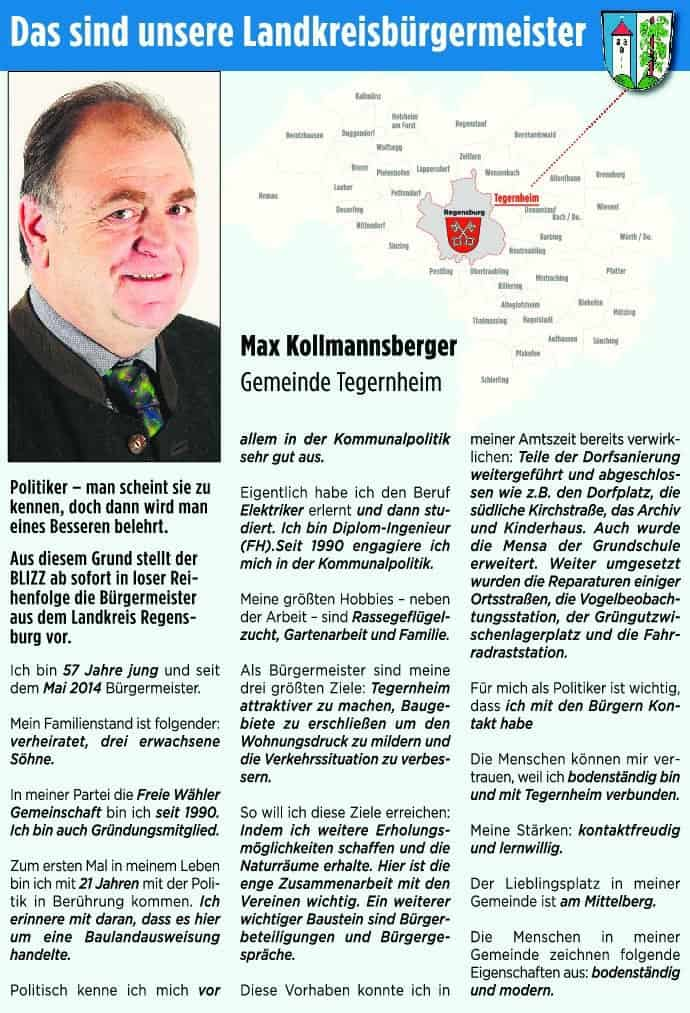 Bürgermeister Max Kollmannsberger aus Tegernheim stellt sich vor