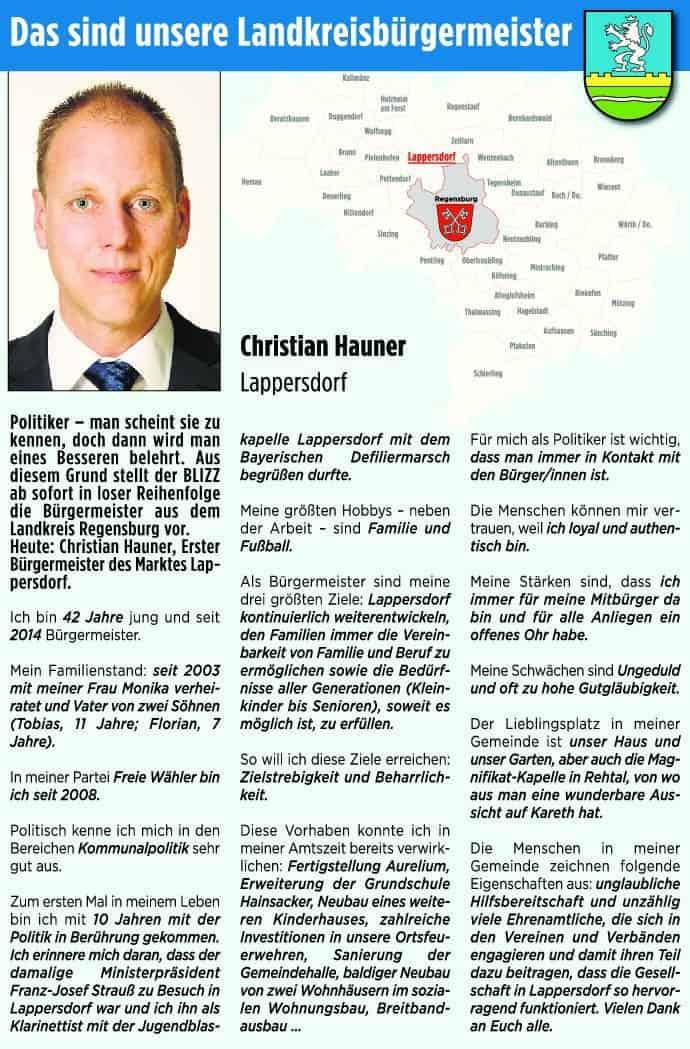 Blizz stellt die Lankreisbürgermeister vor: Heute Christian Hauner aus Lappersdorf