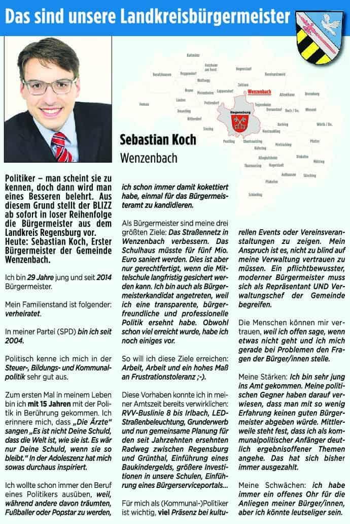 Blizz stellt die Lankreisbürgermeister vor: Heute Sebastian Koch aus Wenzenbach