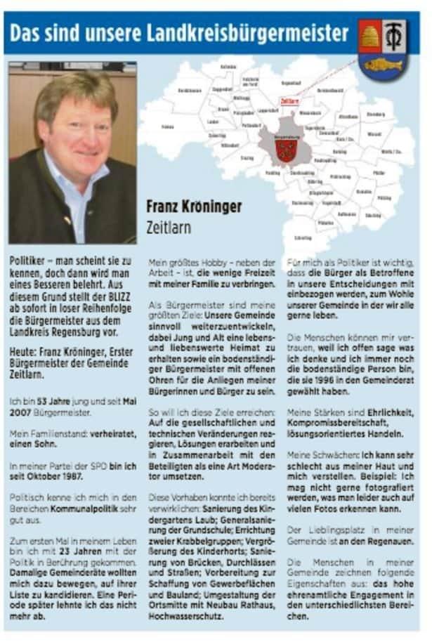 Unsere Landkreisbürgermeister: Heute Franz Kröninger aus Zeitlarn
