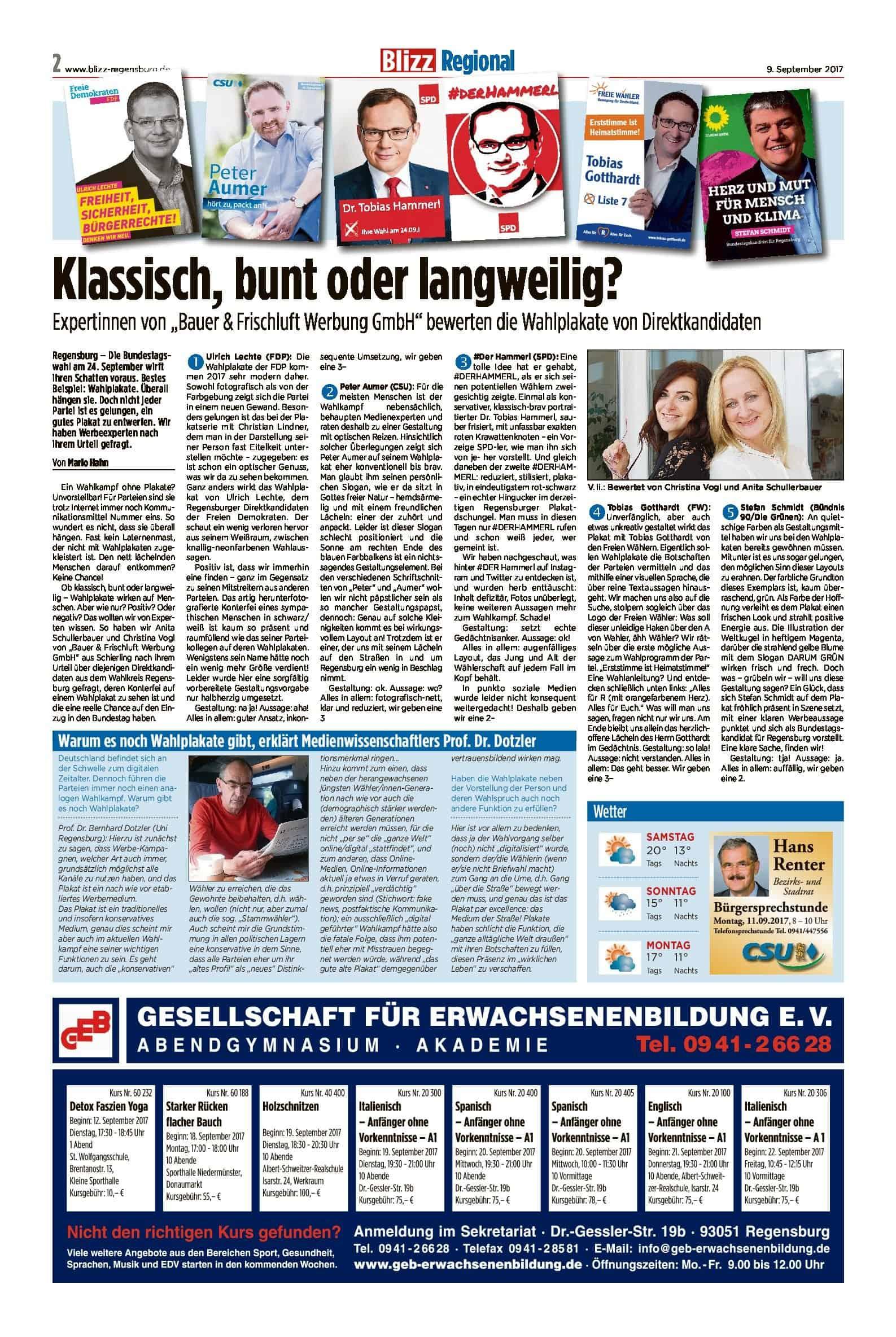 Regensburger Wahlplakate im Experten-Check