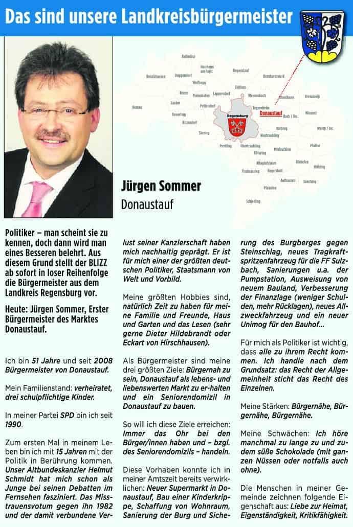 Das sind unsere Landkreisbürgermeister. Heute: Jürgen Sommer aus Donaustauf