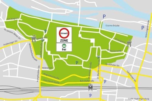 Ganz neu: Umweltzone in Regensburg / Einfahrt in Altstadt nur noch mit grüner Plakette erlaubt