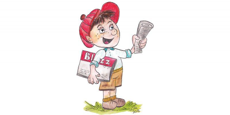 Gestatten: Ich bin der Blizzi, das neue Maskottchen der Regensburger Wochenendzeitung Blizz