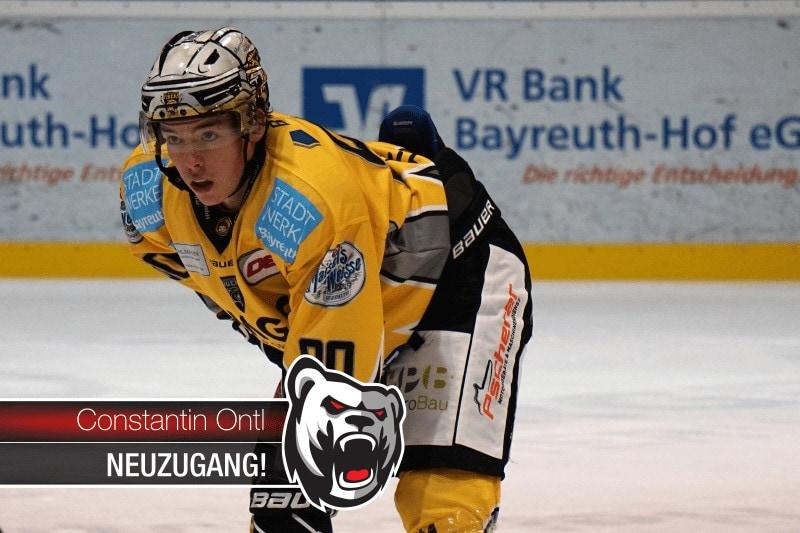 Eishockey-Oberligist Eisbären Regensburg verpflichten Constantin Ontl von den Bayreuth Tigers
