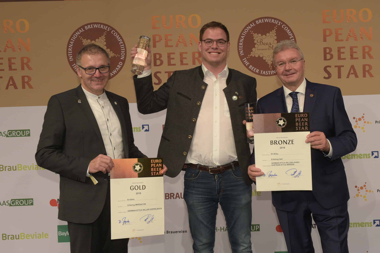 Gold und Bronze für Geiselhöringer Brauerei Erl-Bräu erhält zwei Preise beim European Beer Star