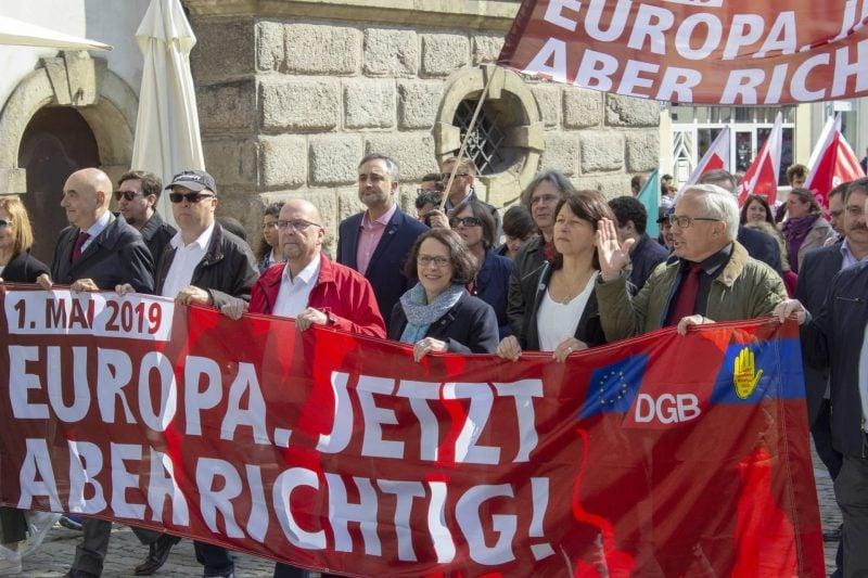 """Am Tag der Arbeit wirbt der DGB in Regensburg für die Europawahl 1. Mai: """"Europa. Jetzt aber richtig!"""""""