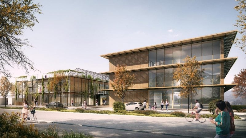 """Ein Multifunktionsgebäude für Umwelt- und Energiebildung """"RUBINA"""" - das größte Holzhaus von Regensburg"""
