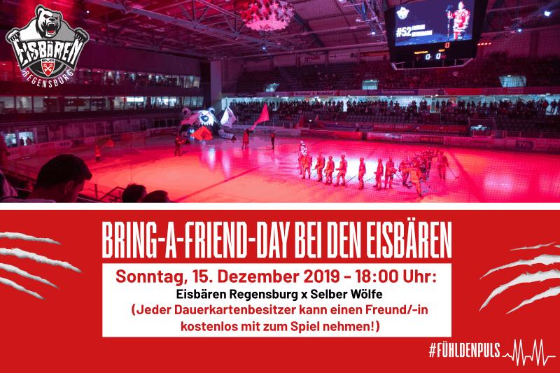 """Eishockey: Die Eisbären Regensburg bieten für seine Dauerkartenbesitzer eine besondere Aktion """"Bring-a-Friend""""-Aktion beim Heimspiel gegen Selb"""
