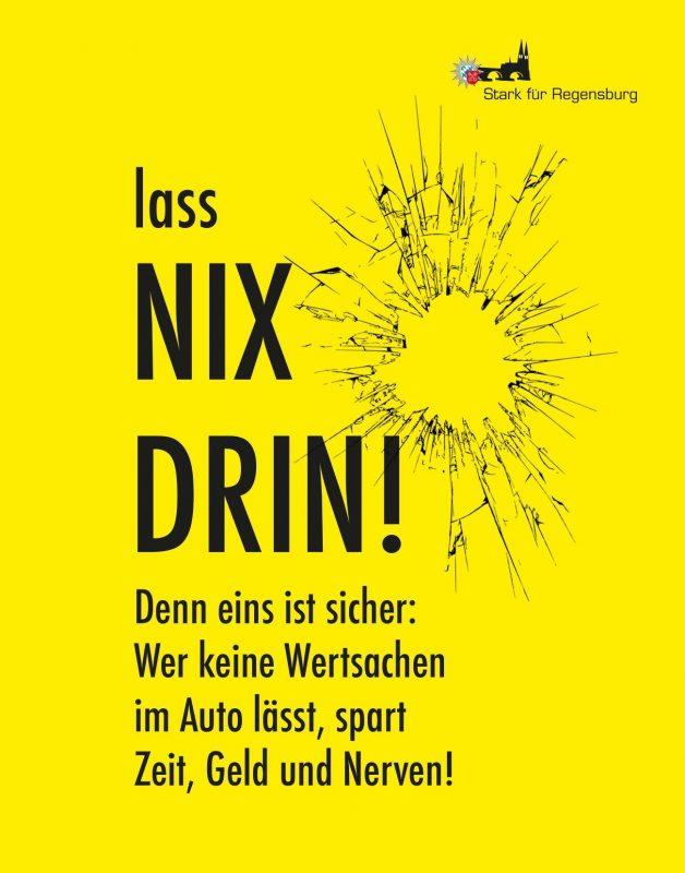 """Polizei betreibt Aufklärung gegen Autoaufbrüche Präventionskampagne """"NIX DRIN"""""""