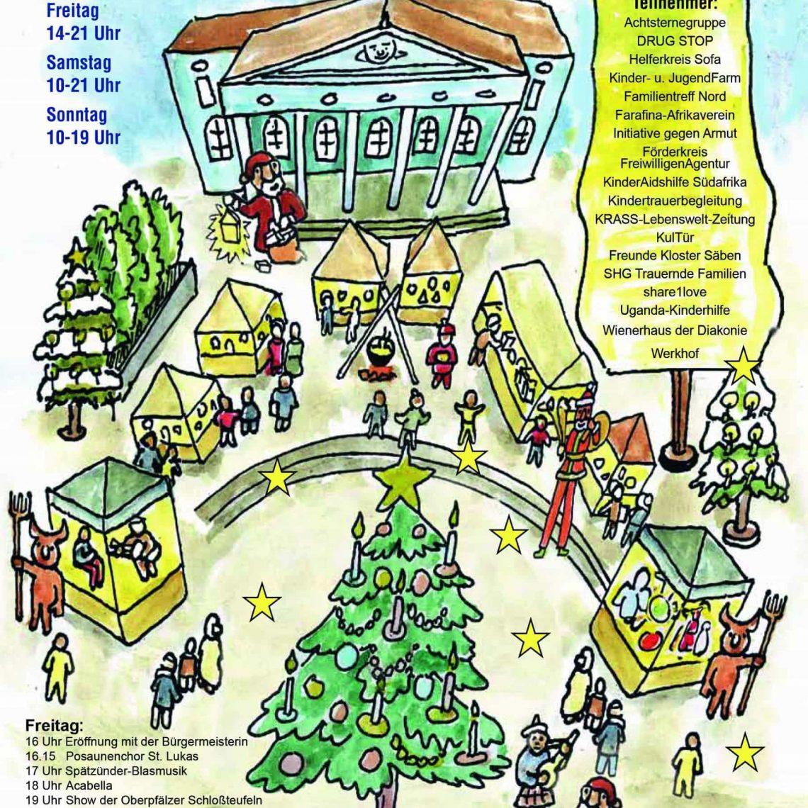 Weihnachtsmarkt der Sozialen Initiativen 6. bis 8.12.: Advent am Bismarckplatz