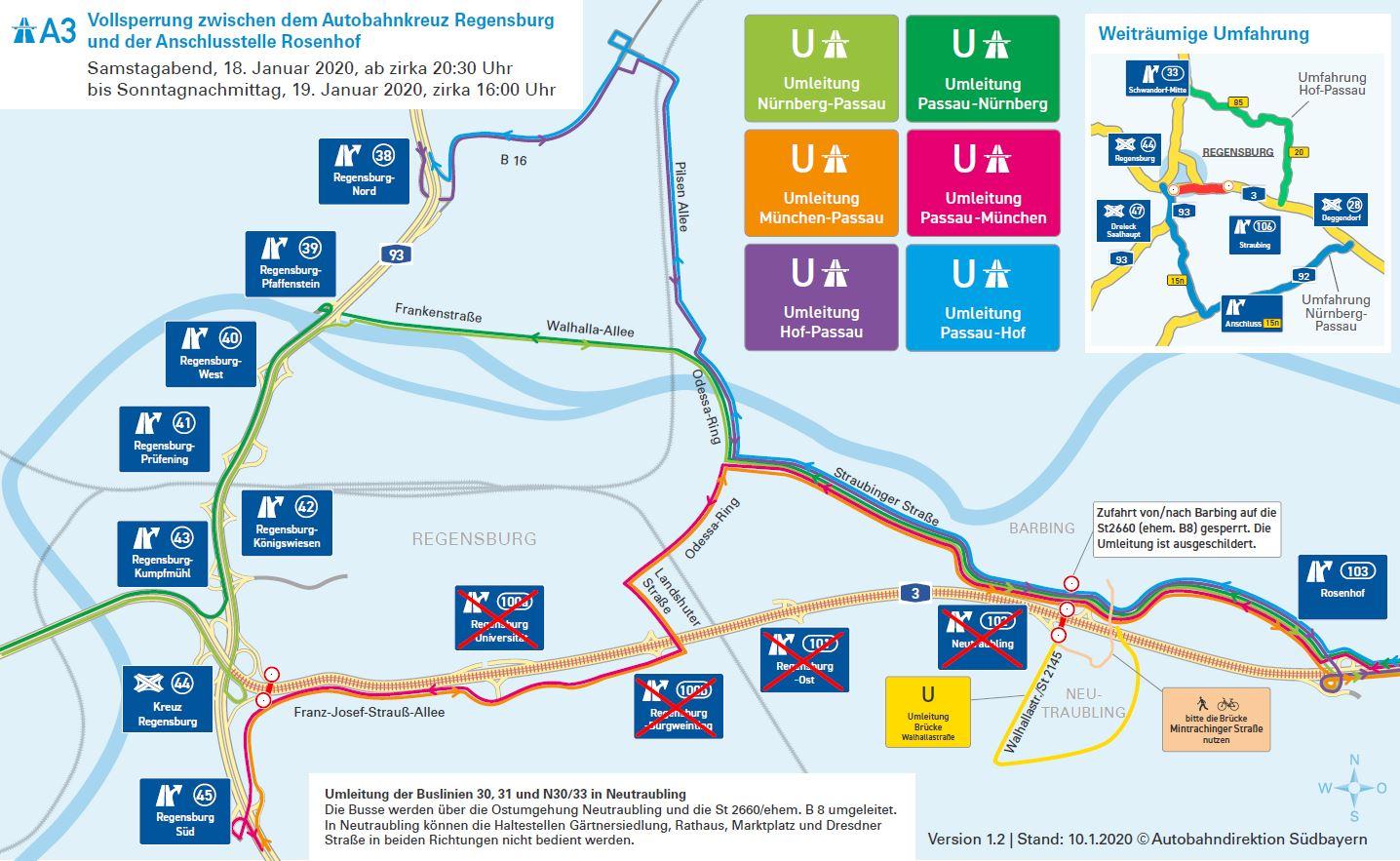 A3-Ausbau bei Regensburg Vollsperrung der A3 ab Samstagabend