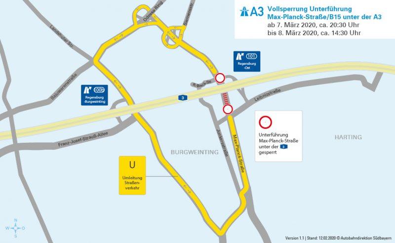 Regensburg: Abbruch der südlichen Autobahnbrücke über die Max-Planck-Straße Vollsperrung der Max-Planck-Straße unter der A 3 vom 07. März 2020, ca. 20:30 Uhr bis 08. März 2020, ca. 14:30 Uhr
