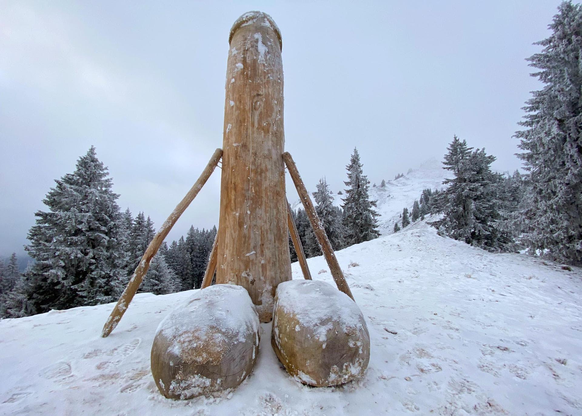 Neuer Holzpenis im Allgäu steht Nach dem mysteriösen Verschwinden