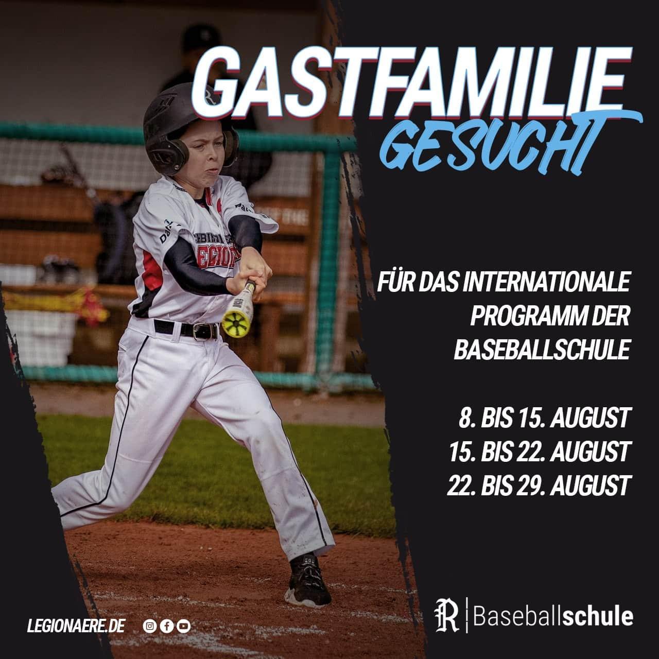 Legionäre Baseballschule: Camps für Kinder in den Ferien Gastfamilien gesucht