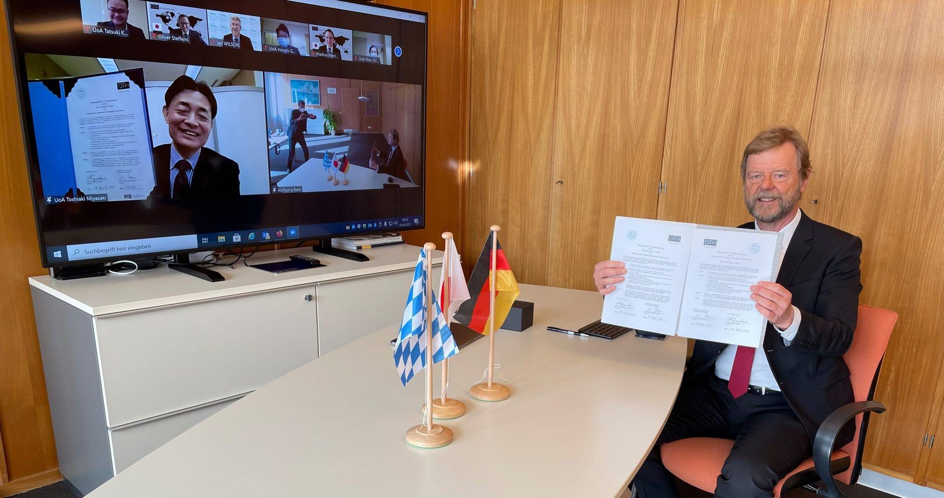 OTH Regensburg unterzeichnet Kooperationsvereinbarung mit japanischer University of Aizu Die beiden Hochschulen wollen in Zukunft den Studierenden- und Dozierendenaustausch fördern sowie gemeinsame Projekte und Forschungsvorhaben durchführen