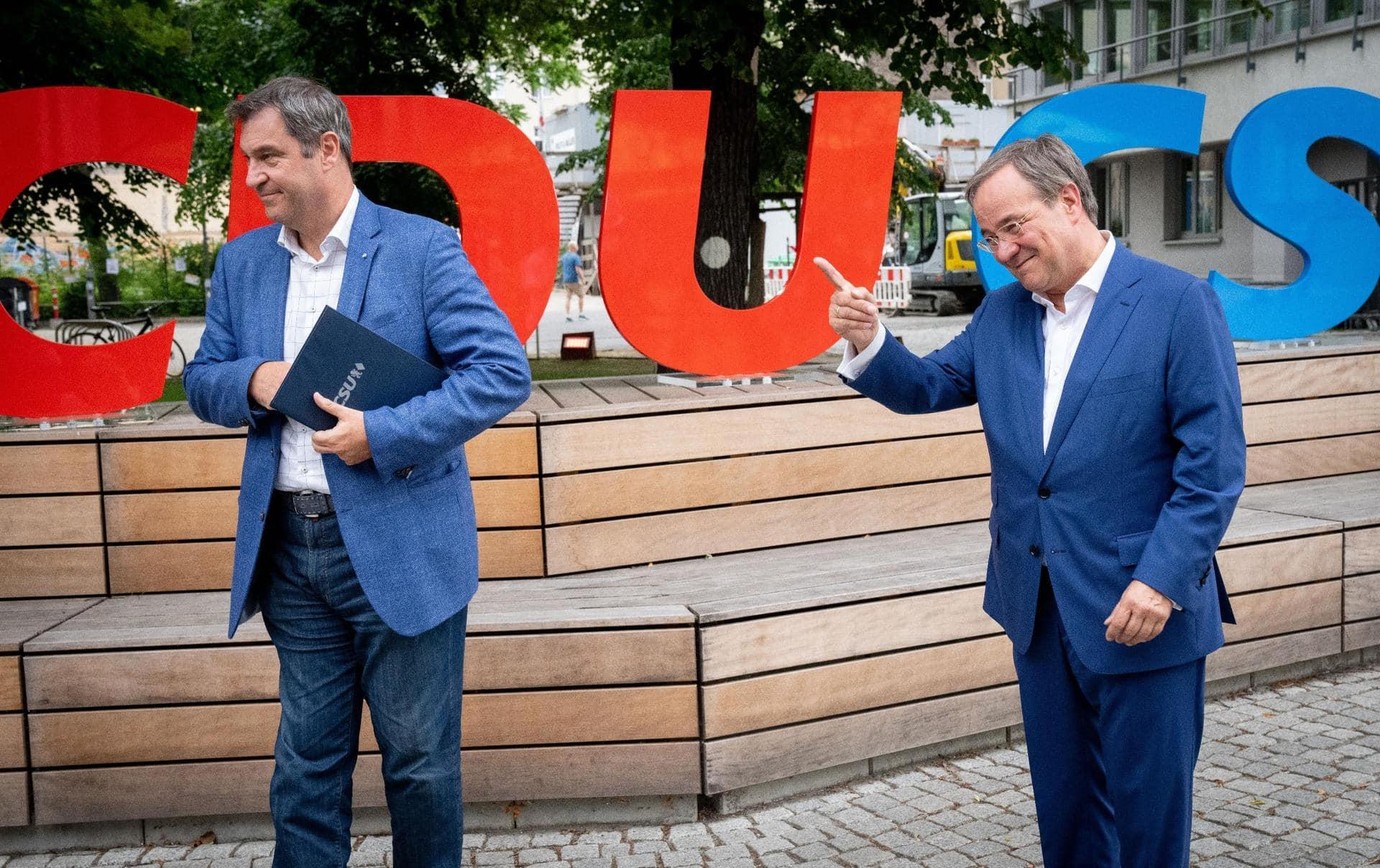 Laschet und Söder stellen gemeinsames Wahlprogramm vor Bundestagswahl