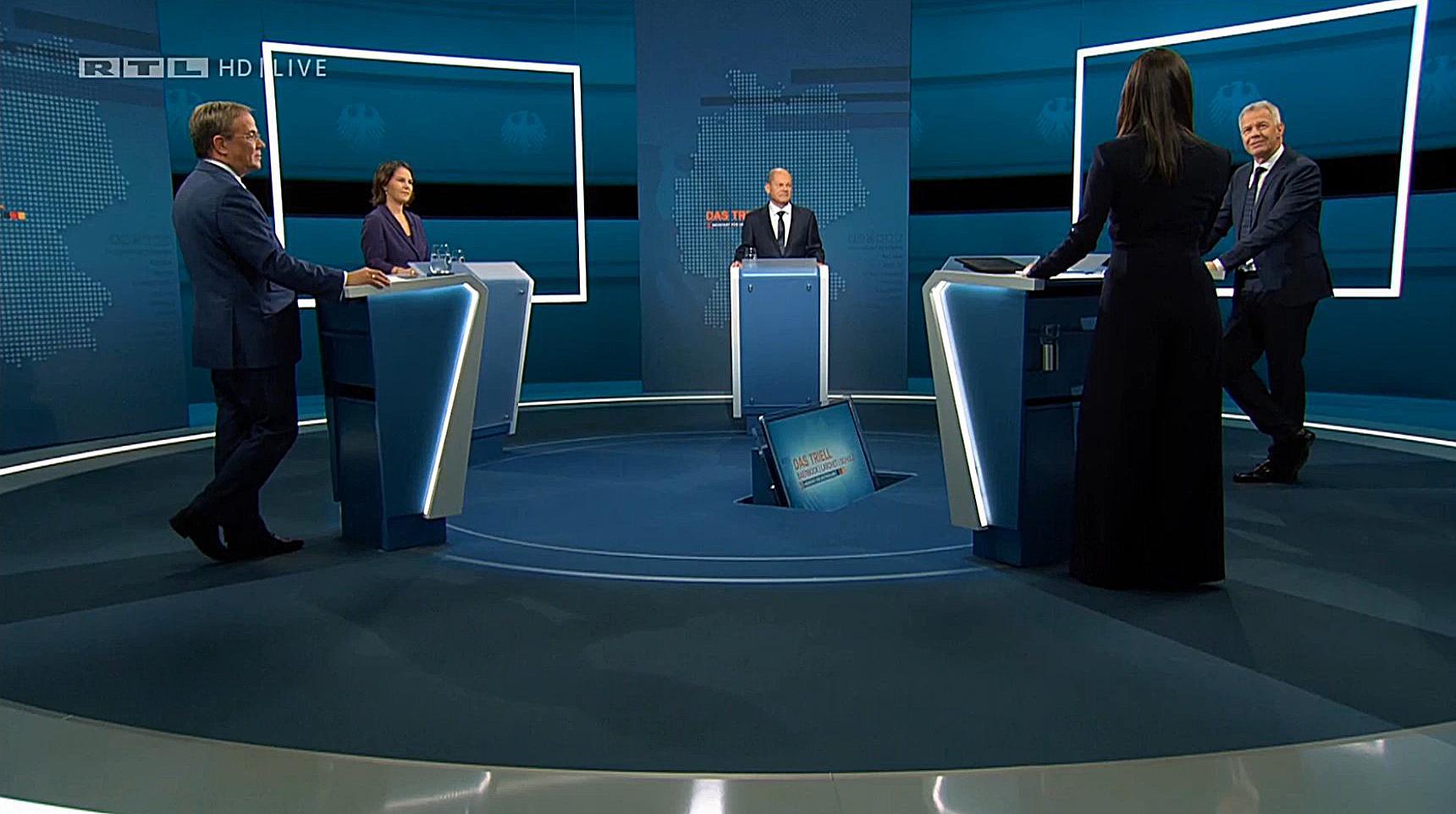Kanzlerkandidaten zeigen sich im TV-Triell kämpferisch Bundestagswahl